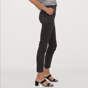 H&M Patterned Dark Gray Ankle Length Slacks